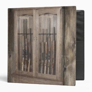 Rustic Western Country Firearm Gun Cabinet Rifles 3 Ring Binder
