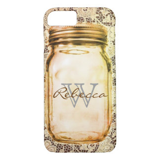 rustic western country lace customizable mason jar iPhone 7 case