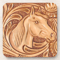 rustic western country leather equestrian horse beverage coaster
