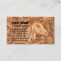 rustic western country leather equestrian horse business card