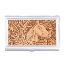 rustic western country leather equestrian horse business card case