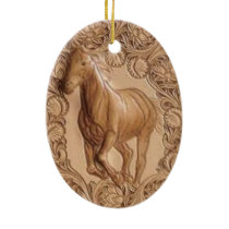 rustic western country leather equestrian horse ceramic ornament