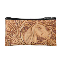 rustic western country leather equestrian horse cosmetic bag