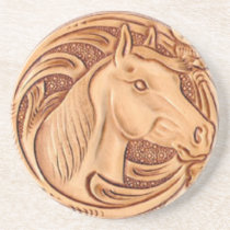 rustic western country leather equestrian horse drink coaster