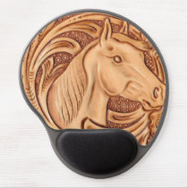 rustic western country leather equestrian horse gel mouse pad
