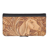 rustic western country leather equestrian horse iPhone SE/5/5s wallet