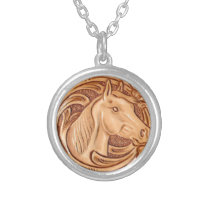 rustic western country leather equestrian horse silver plated necklace