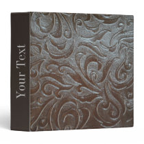 Rustic western country pattern tooled leather 3 ring binder