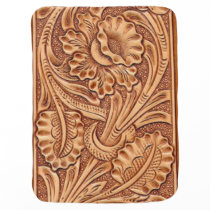 Rustic western country pattern tooled leather baby blanket