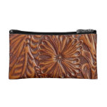 Rustic western country pattern tooled leather cosmetic bags