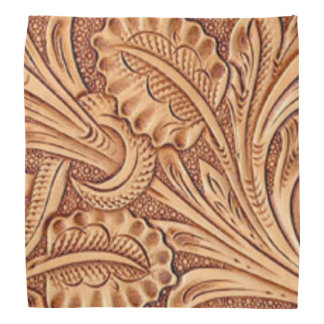 Rustic western country pattern tooled leather bandana