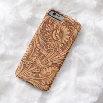 Rustic western country pattern tooled leather barely there iPhone 6 case