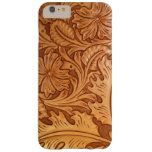 Rustic western country pattern tooled leather barely there iPhone 6 plus case
