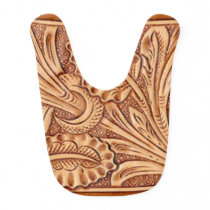 Rustic western country pattern tooled leather bib