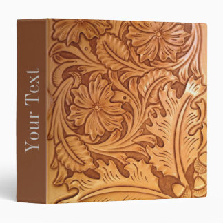 Rustic western country pattern tooled leather binder