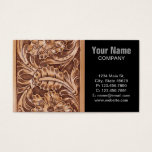 Rustic Western Country Pattern Tooled Leather Business Card at Zazzle