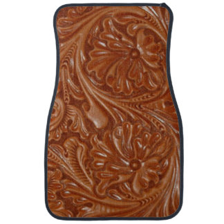 Rustic western country pattern tooled leather car mat