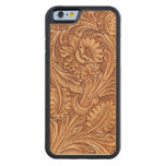 Rustic Western Country Pattern Tooled Leather Carved Maple Iphone 6 Bumper Case at Zazzle