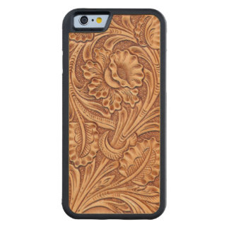 Rustic western country pattern tooled leather carved maple iPhone 6 bumper case
