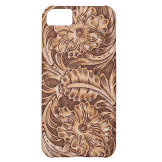 Rustic western country pattern tooled leather case for iPhone 5C