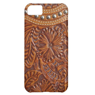 Rustic western country pattern tooled leather iPhone 5C case