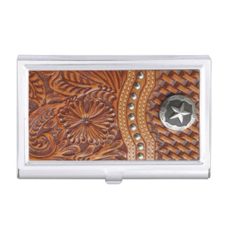 Rustic western country pattern tooled leather case for business cards