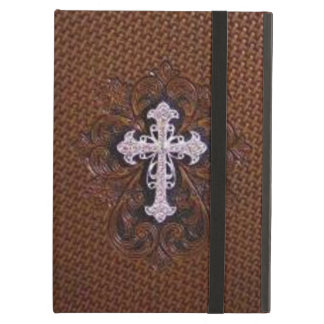 Rustic western country pattern tooled leather case for iPad air