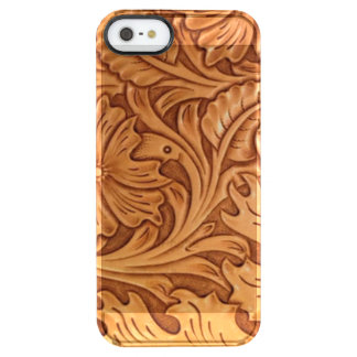 Rustic western country pattern tooled leather clear iPhone SE/5/5s case