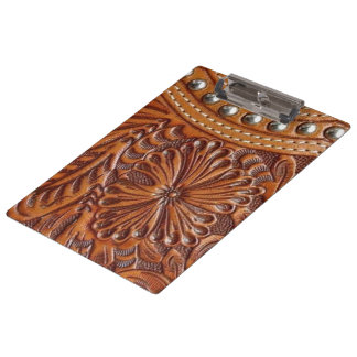 Rustic western country pattern tooled leather clipboard