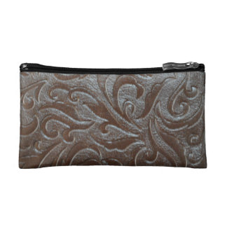 Rustic western country pattern tooled leather cosmetic bag