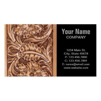 Rustic western country pattern tooled leather Double-Sided standard business cards (Pack of 100)