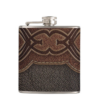 Rustic western country pattern tooled leather flask