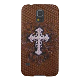 Rustic western country pattern tooled leather galaxy s5 case