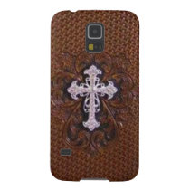 Rustic western country pattern tooled leather galaxy s5 cover
