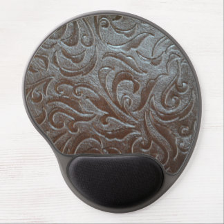 Rustic western country pattern tooled leather gel mouse pad
