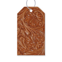 Rustic western country pattern tooled leather gift tags
