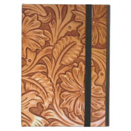 Rustic western country pattern tooled leather iPad air cover