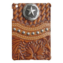 Rustic western country pattern tooled leather iPad mini case