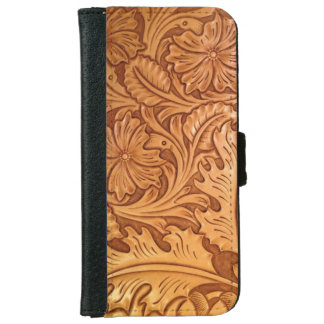 Rustic western country pattern tooled leather iPhone 6/6s wallet case