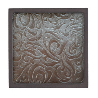Rustic western country pattern tooled leather jewelry box
