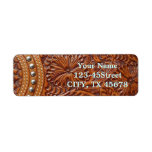 Rustic western country pattern tooled leather return address labels