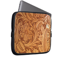 Rustic western country pattern tooled leather laptop sleeve