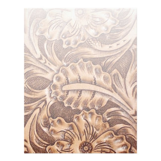 Rustic western country pattern tooled leather letterhead