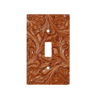 Rustic western country pattern tooled leather light switch cover