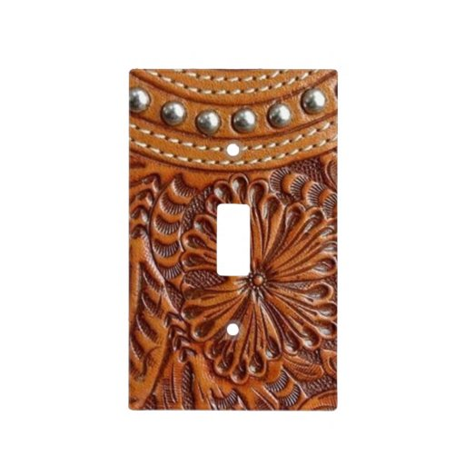 Rustic Western Country Pattern Tooled Leather Light Switch