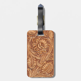 Rustic western country pattern tooled leather tags for luggage