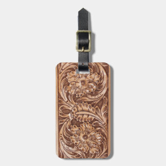 Rustic western country pattern tooled leather travel bag tag