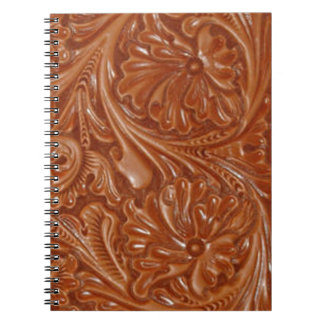 Rustic western country pattern tooled leather notebook