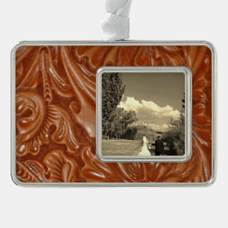 Rustic western country pattern tooled leather ornament