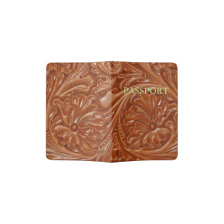 Rustic western country pattern tooled leather passport holder